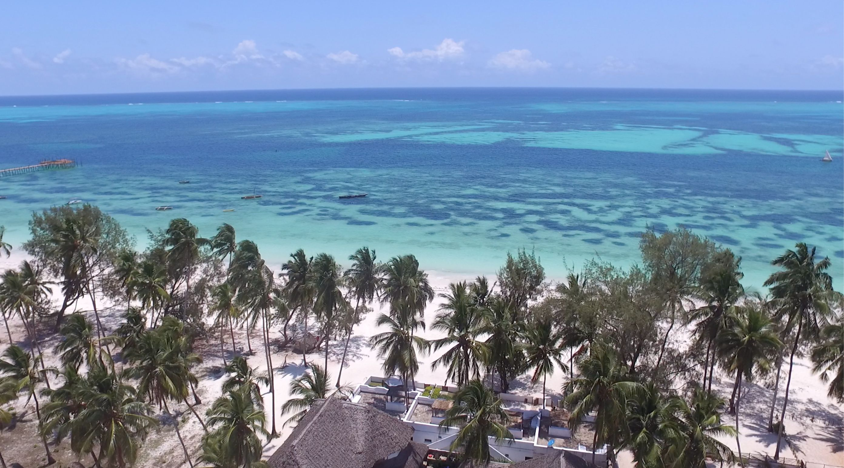 Surfescape Beachfront Apartments Zanzibar view from air