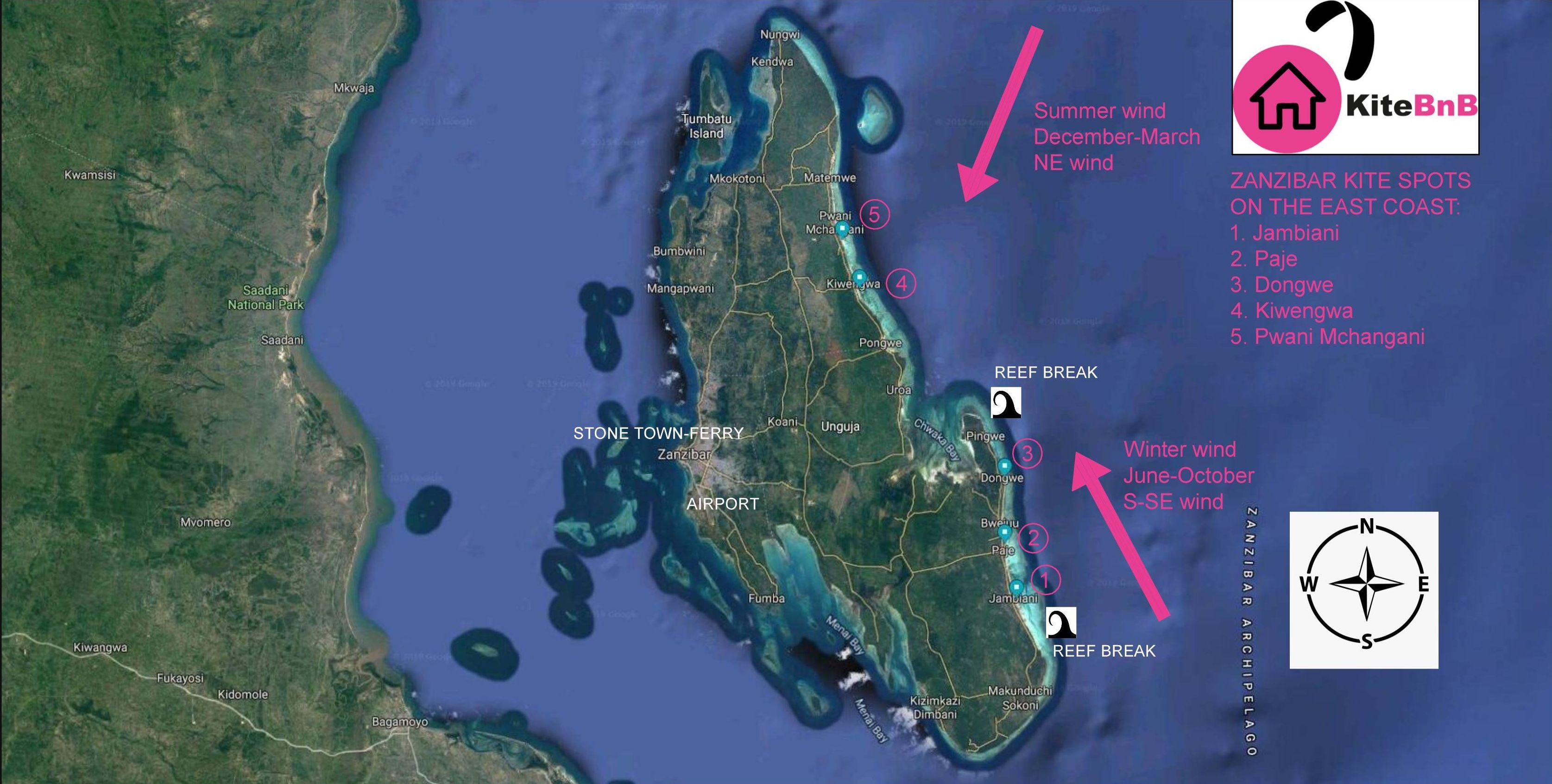 Zanzibar kitesurfing spots map