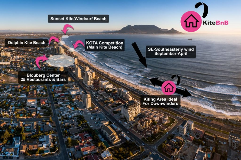 Cape Town kitesurfing spots map drone view from Blouberg